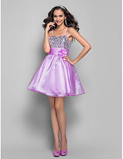 Cocktail Party/Prom Dress - Lavender Plus Sizes A-line/Princess Spaghetti Straps Short/Mini Organza