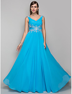 TS Couture® Prom / Formal Evening / Military Ball Dress - Open Back Plus Size / Petite Sheath / Column V-neck Floor-length Chiffon with Appliques