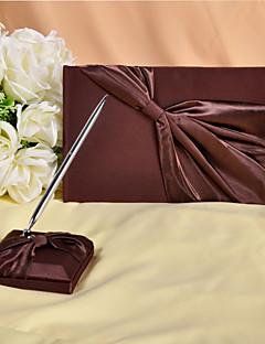 rijke chocolade bruin gastenboek en pen set teken in boek