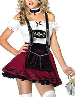 Cosplay Kostumer Party-kostyme Oktoberfest Servitør/servitrise karriere Kostymer Festival/høytid Halloween-kostymer Hvit Vinrød Lapper