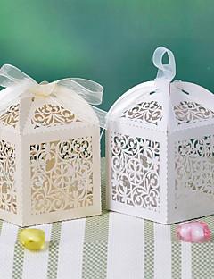 bloem design laser gesneden doos met lint (meer kleuren)-set van 12