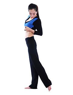 Mulheres Cotoon Elastano meia manga respirabilidade Yoga Suit (Preto Pant Top + Preto)