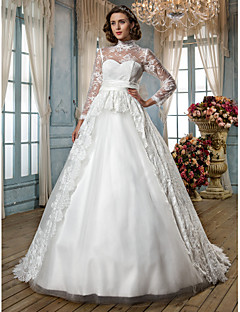 A-line/Princess Plus Sizes Wedding Dress - Ivory Court Train High Neck Lace/Tulle