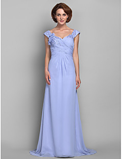Lanting Bride A-line Plus Size / Petite Mother of the Bride Dress Sweep / Brush Train Sleeveless Chiffon withAppliques / Beading /