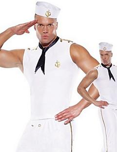 Stylish Men White Polyester Navy Uniform