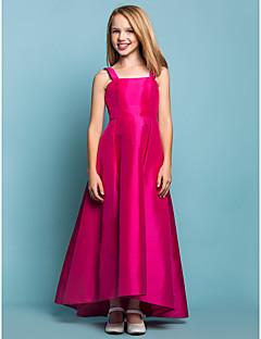Lanting Bride Asymmetrisk Taft Junior brudepikekjole A-linje Firkantet / Stropper Naturlig med Belte / bånd