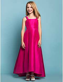 Lanting Bride® Asymmetrical Taffeta Junior Bridesmaid Dress A-line Square / Straps Natural with Sash / Ribbon