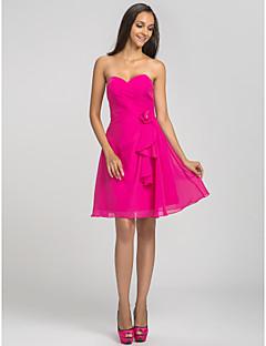 thuiskomst korte / mini chiffon bruidsmeisje jurk - fuchsia grote maten A-lijn lieverd