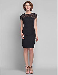 Sheath/Column Plus Sizes Mother of the Bride Dress - Black Knee-length Short Sleeve Chiffon/Lace