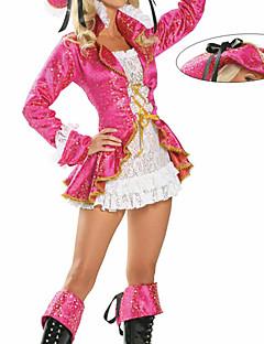 תחפושות קוספליי / תחפושת למסיבה פיראט פסטיבל/חג תחפושות ליל כל הקדושים ורוד תחרה מעיל / שמלה / כובע האלווין (ליל כל הקדושים) נקבה טרילן