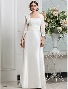 Lanting Sheath/Column Plus Sizes Wedding Dress - Ivory Floor-length Spaghetti Straps Lace/Stretch Satin