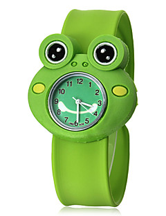 Kinder-3D-Frosch-Form-Silikon-Band Quarz-Armbanduhr Analog Slap