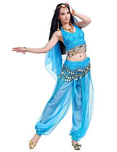 Χορός της κοιλιάς Σύνολα Γυναικεία Επίδοση Σιφόν Χάντρες Κέρματα 4 Κομμάτια ΑμάνικοΚορυφή Παντελόνια Φουλάρι Γοφών για Χορό της Κοιλιάς