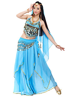 Belly Dance Outfits Women's Chiffon Beading / Coins / Sequins Black / Blue / Pink / Purple / Red / Royal Blue / White / YellowBelly Dance