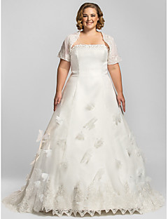Lanting Bride A-line Petite / Plus Sizes Wedding Dress-Chapel Train Strapless Organza