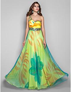 저녁 정장파티/밀리터리 볼 드레스 - 프린트 A라인/프린세스 바닥 길이 원 숄더 쉬폰/명주그물 플러스 사이즈