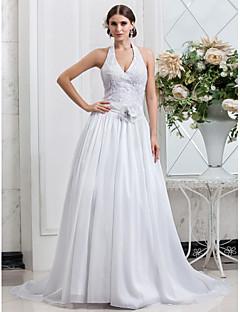 Hochzeitskleid - Weiß Taft - A-Linie/Prinzessinnen-Linie - Kapellen-Schleier - Neckholder Übergrößen