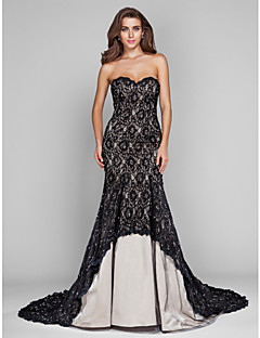 Military Ball/Formal Evening Dress - Champagne Plus Sizes Trumpet/Mermaid Sweetheart Sweep/Brush Train Tulle/Lace