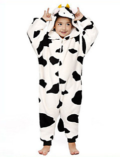 Kigurumi Pajamas Milk Cow Leotard/Onesie Halloween Animal Sleepwear Black/White Patchwork Flannel Kigurumi Kid Halloween