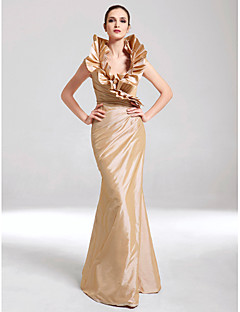 Mermaid / Trumpet V-neck Floor Length Taffeta Formal Evening Military Ball Dress with Side Draping Ruffles by TS Couture®
