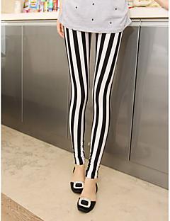 Dames Zwart-witte Streep Leggings
