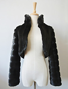 noite agradável de manga longa faux fur / envoltório casual / encolher de ombros noite bolero