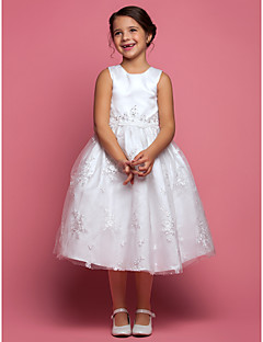 Lanting Bride A-line Tea-length Flower Girl Dress - Lace / Satin Sleeveless Jewel with Appliques / Beading / Lace