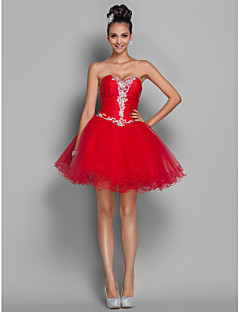 Cocktail Party / Homecoming / Prom / Holiday Dress - Open Back Plus Size / Petite A-line / Princess Sweetheart Short / MiniOrganza /