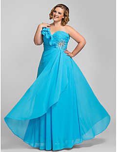 Formal Evening/Prom/Military Ball Dress - Pool Plus Sizes Sheath/Column One Shoulder Floor-length Chiffon