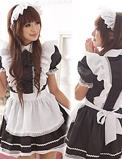 Cute Girl Black and White Volánky zástěra Maid uniformu