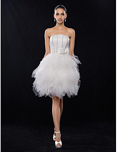 Cocktail Party / Homecoming / Prom / Holiday / Graduation Dress - Ivory Plus Sizes / Petite A-line Strapless Knee-length Satin / Tulle