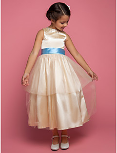 A-line/Princess Ankle-length Flower Girl Dress - Stretch Satin/Tulle Sleeveless