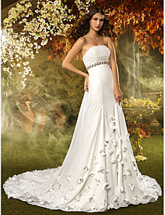 Lanting Bride® A-line Petite / Plus Sizes Wedding Dress Court Train Strapless Chiffon with