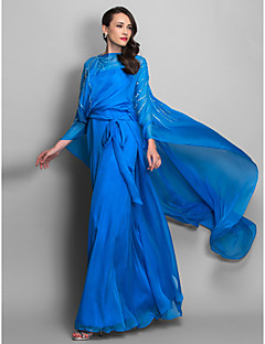 Formal Evening/Military Ball Dress - Ocean Blue Plus Sizes Sheath/Column Scoop/Spaghetti Straps Floor-length Chiffon