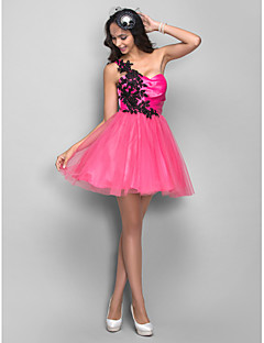 Homecoming Cocktail Party/Homecoming/Holiday/Prom Dress - Fuchsia A-line/Princess One Shoulder Short/Mini Tulle
