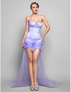 Formal Evening Dress - Lavender Plus Sizes Sheath/Column Spaghetti Straps Asymmetrical Tulle