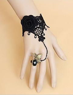 Handmade Black Lace and Flower Classic Lolita Ring Bracelet