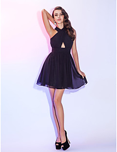 Cocktail Party / Homecoming / Holiday Dress - Plus Size / Petite A-line Halter Short/Mini Chiffon