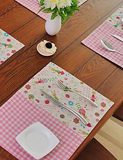 "Set de table, coton / polyester 13 ""* 18"", Motif Lapin"