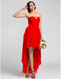 Asymmetrical Chiffon Bridesmaid Dress A-line StraplessApple / Hourglass / Inverted Triangle / Pear / Rectangle / Plus Size / Petite /