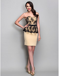 TS Couture® Cocktail Party / Holiday Dress - Short Plus Size / Petite Sheath / Column Sweetheart Short / Mini Jersey with Crystal Detailing / Lace