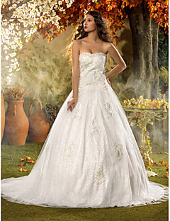 Lanting une ligne de train tribunal amie tulle et dentelle robe de mariage (604652)