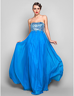 TS Couture Formal Evening / Prom / Military Ball Dress - Ocean Blue Plus Sizes / Petite Sheath/Column Strapless Floor-length Chiffon / Sequined