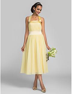 Lanting Bride Tea-length Chiffon / Stretch Satin Bridesmaid Dress A-line Halter Plus Size / Petite with Draping / Bandage