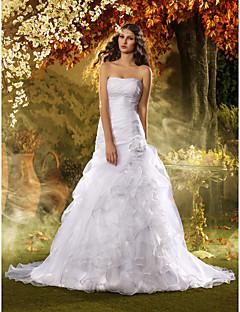 웨딩 드레스 - 화이트 트럼펫/멀메이드 스위프/브러쉬 트레인 튜브탑 오르간자 플러스 사이즈
