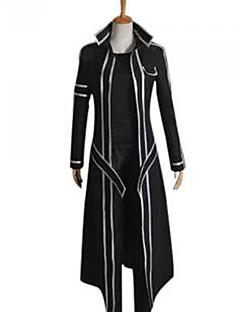 Inspireret af Sword Art Online Kirito Anime Cosplay Kostumer Cosplay Kostumer Ensfarvet Sort Langt ÆrmeKappe Bukser Skulder Beskytter