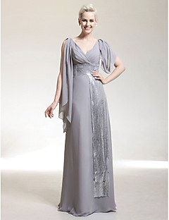 Formal Evening/Military Ball Dress - Silver Plus Sizes Sheath/Column V-neck Floor-length Chiffon/Sequined
