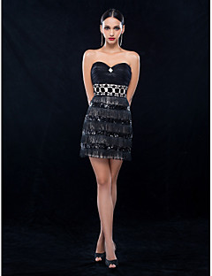Cocktail Party / Holiday Dress - Black Plus Sizes / Petite Sheath/Column Strapless / Sweetheart Short/MiniTulle / Stretch Satin /