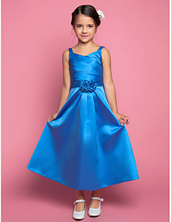 LAN TING BRIDE A-line Ankle-length Flower Girl Dress - Satin Spaghetti Straps with Flower(s) Criss Cross Side Draping