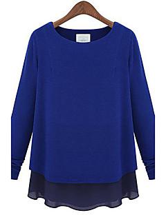여성의 패치 워크 라운드 넥 긴 소매 블라우스,심플 캐쥬얼/데일리 블루 / 블랙 / 그레이 사계절 얇음 / 중간